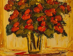 Red Floral in Window Light