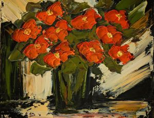 Red Poppies Contemporary 18x18