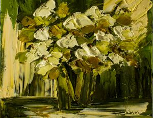 White Lilies on Green