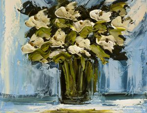 White Poppies on Blue Background