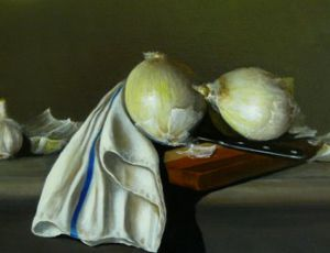 White Onions Garlic and a Cloth