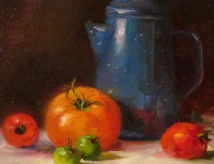 Blue Enamel Kettle & Tomatoes