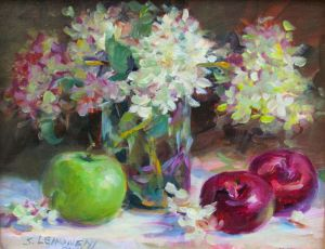 Hydrangeas, Plums & Green Apple