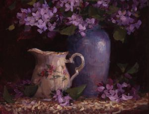 Little Pitcher, Blue Vase & Lilacs