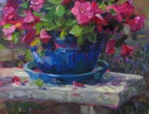 Planter with Pink Flowers