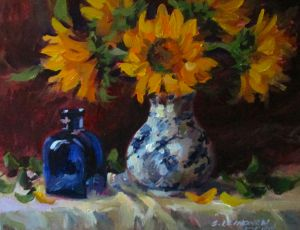 Sunflowers & Small Blue Bottle