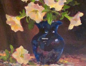 White Petunias in Blue Vase