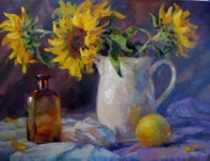 White Vase of Sunflowers with Brown Bottle