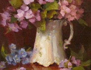 Hydrangeas in Fancy White Vase