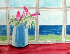 Salt Roses in a Blue Vase