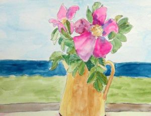 Salt Roses in a Yellow Pitcher