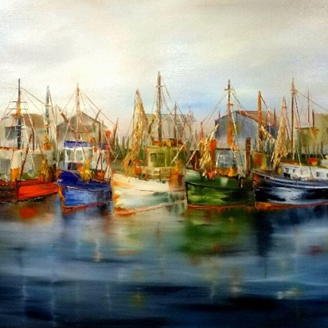 Working Boats in the Bay oil 24h x 36w