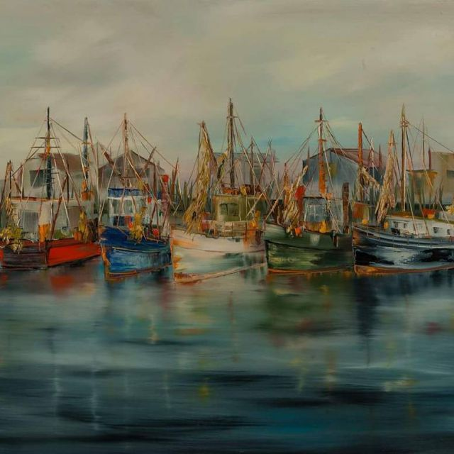 Working Boats at the Dock oil 24x36 Native born artisthellip