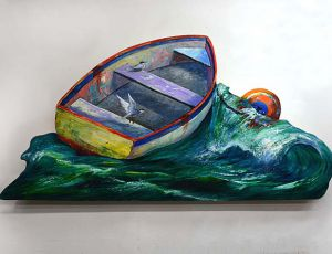 Dinghy on Wave by Timothy Basil Ering *SOLD*