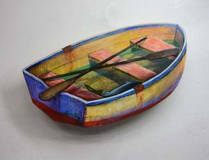 Dinghy with Oars & Striped Bass by Timothy Basil Ering