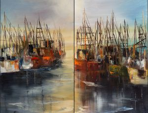 Sunrise in Harbor (diptych)