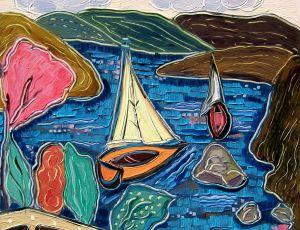 Watching the Boats in Skopelos I by Nan Hass Feldman