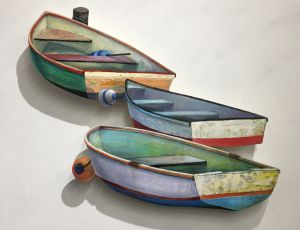 3 Boats Tied To Moorings by Timothy Ering