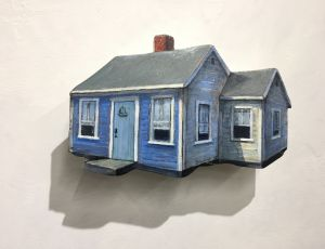 Blue Cottage with Ship on Door by Timothy Ering