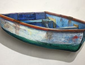 Old Row Boat with Striped Bass Tail & Lure by Timothy Ering