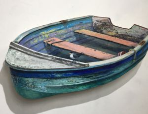 Weathered Green Boat with Tern by Timothy Ering