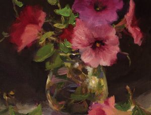 Mixed Petunias in a Glass Jar