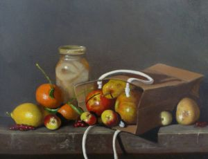 Jar of Pears and Fruit