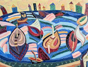Boats Return to Yellow Sky by Nan Hass Feldman