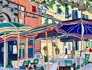 Umbrellas of Vernazza by Nan Hass Feldman
