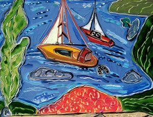 Watching the Boats in Skopelos III by Nan Hass Feldman