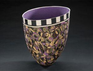 Black/White & Amethyst Vase w/Geometrics by Jean Elton
