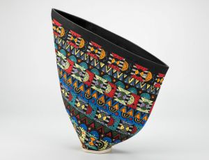 Black Sailvase w/Colorful Geometrics by Jean Elton