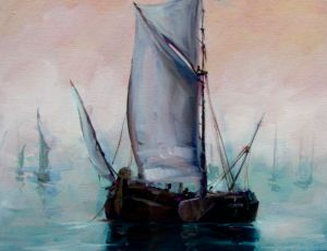 Dutch Sailing Vessel III by Sandra Dunn  SOLD