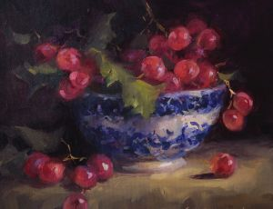 Bowl of Brilliant Red Grapes by Sandra Leinonen Dunn