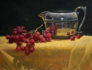 Silver Pitcher with Grapes