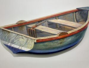 Green Dinghy With Clam Rake